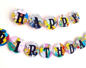 Birthday Decor -Upcycled Simpsons Comic Book Birthday Banner -  Happy Birthday Garland - Simpsons Comic Book Birthday Bunting - The Simpsons