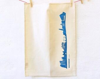 AMSTERDAM Dish towel, Amsterdam Skyline Blue, Flour Sack Towel, gift for moving, green gift Kitchen Towel, Cotton Towel, Tea Towel Gift,