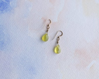 Olive Quartz Drop Earrings- 14 kt gold-filled