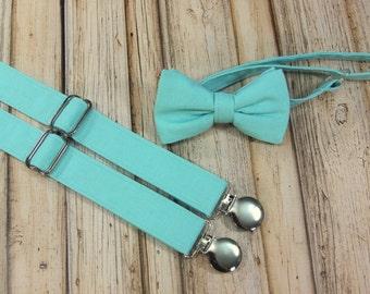 Azure Blue Aqua/Teal Spa Bow Tie and Suspenders set Similar  Davids Bridal Spa (Men, boys, baby, toddler Suspender Bowtie