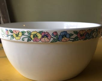 Vintage Large Floral Mixing Bowl, Vintage Kitschy Ceramic Mixing Bowl