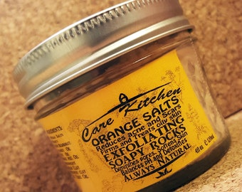 Orange Peel Salts Exfoliating Soapy Rocks. Face and Neck Scrub with the citrus Scent
