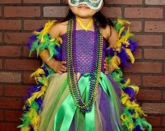 Mardi gras tutu dress, mardi gras, girls mardi gras dress, feather tutu dress, tutu flower girl dresses, feather tutu dress, mardi gras tutu