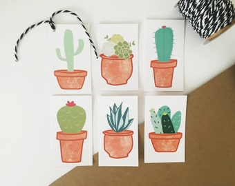 Set of 6 Cactus Tags