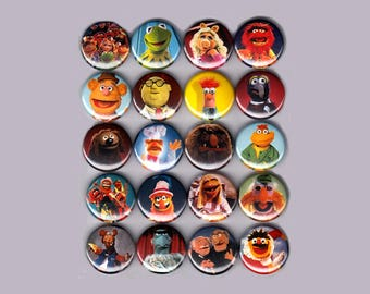 "The Muppets 1"" Pins / Buttons (kermit piggy fozzy gonzo show caper shirt toys badges disney)"