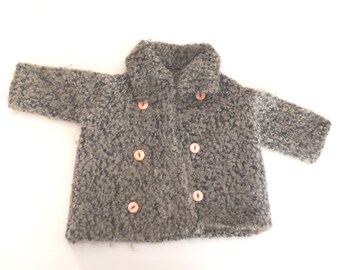 Vintage Baby Clothes, 1920's Rare Handmade Gray Curly Lambswool Baby Girl Coat Set, Vintage Baby Coat, New Mom Gift, Size 0-3 Months