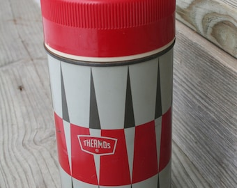 Vintage Diamond Pattern, Wide Mouth, Red and Grey Thermos / 1960s