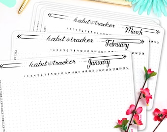 """Habit Tracker 12-Month Kit • Full Year 2018 • Bullet Journal Stickers with Motivational Quote • Daily Habit • Planning Stickers • 5"""" x 7"""""""