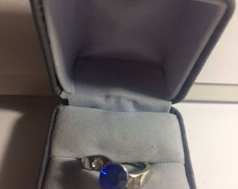 Silver Ring with Sapphire and Rhinestones