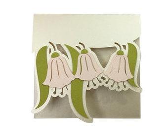 Bluebell Flowers Blank Card , Papercut , Elegant , Simple , Classic