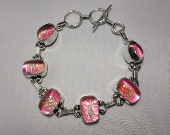 Adorable Pink Dichroic Glass Sterling Silver Bracelet