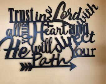 Inspirational Metal Wall Quote/Religious/Metal Wall Decor/Metal Wall Hanging/Birthday/Wedding/Anniversary/Housewarming Gift