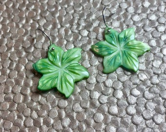 Lime Green Peruvian Lily Mother of Pearl Dangling Earrings