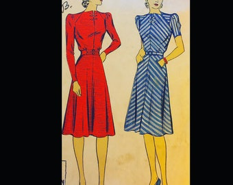 Vintage 40s Slit Neckline Frog Closure Day Dress Dubarry Sewing Pattern 2605 34