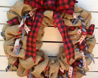 buffalo plaid burlap and ribbon wreath; fall wreath; winter wreath; welcome; shabby chic; front door wreath; farmhouse decor