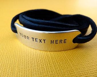 Custom Bracelet - Personalized Bracelet - Hand stamped Bracelet - Wrap Bracelet - Gifts for her