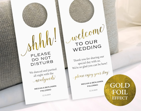 Gold Wedding Door Hanger Please Do Not Disturb Door Hanger