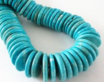 Turquoise Disc Beads - Blue Turquoise Coin Donut Beads - Howlite Gemstone - 30 pcs - 18mmx3mm - Dark Matrix Disk Rondelle -  Diy Jewelry
