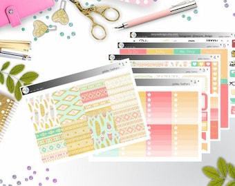 weekly kit - golden feathers (Erin Condren and Happy Planner Stickers)