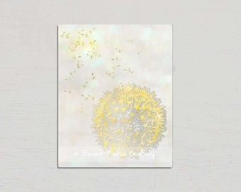 Yellow Gray Wall Art, Yellow Gray Decor, Modern Wall Art, Dandelion Print, Floral Wall Art, Dandelion Art, Modern Floral