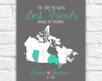 Canada Map, Best Friend Gift, Canadian Provinces, Ontario, Alberta, British Columbia, Quebec, Newfoundland, Long Distance Friends | WF475