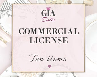 License for Commercial Use, No-Credit, for TEN Items, fashion Cliparts , Digital Paper Packs, Giadolls