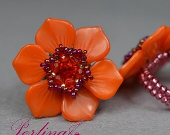"""Beading Kit """"Cherry Blossom Ring"""" orange"""