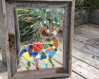 Stain Glass Colorful Rustic Reindeer