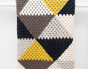 Love Triangles Granny Stripe Baby Afghan Blanket Crochet Pattern