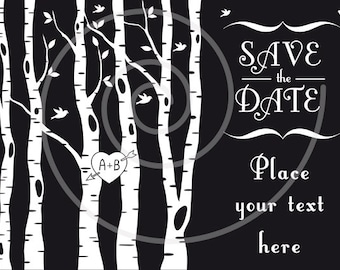 Birch trees with red heart, wedding invitation, wedding tree, save the date, custom graphic design, printable card, vector, instant download