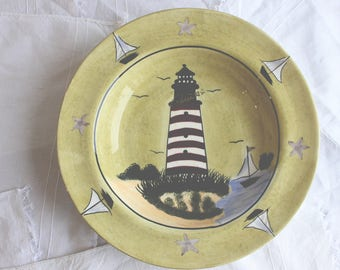 Vintage Hand-painted Decorative Plate by Cardinal with Lighthouse and Sailboats