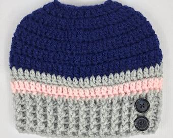 Messy Bun Hat, Navy Pink Gray, winter beanie hat, crochet hat, teen hat, adult hat, free shipping