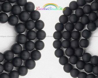Matte Black Onix Beads, Gemstone beads, 4mm 6mm 8mm 10mm 12mm 14mm Round Natural Beads, Stone Spacer Beads  15'' strand,