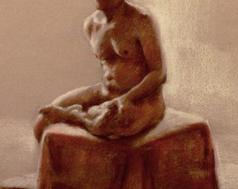 original charcoal figure drawing of a seated man