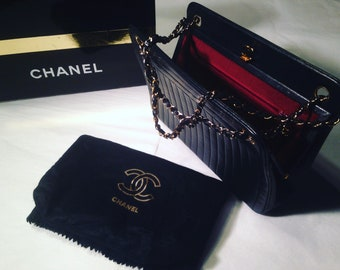 CHANEL - 80's vintage black lamb leather bag