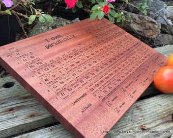PERIODIC Table CUTTING BOARD, Engraved Wood Cutting Board, Periodic Table of Elements