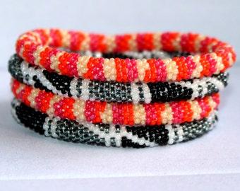 Nepali Roll On Bracelets, Ethnic Glass Beaded Bracelets, Global Jewelry, Hippie Tribal Boho Bracelets, Bangles, Ethnic Jewelry, Bollywood
