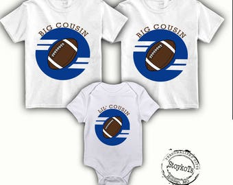 Big Cousin shirt set Little Cousin Personalized Football set of 3 shirts Sports New baby pregnancy announcement matching family