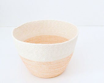 Planter basket, Small toys basket, Natural colours bowl Minimal beach house Orange and white Bread basket bowl, Beach style decor Fruit Bowl