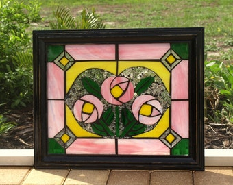 Stained Glass Mosaic Frameables Pink Floral Heart Repurpose Frame