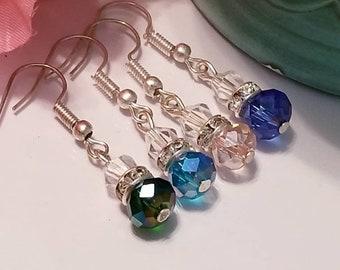 Elegant crystal beaded earrings, bridal earrings, bridesmaid earrings, prom jewelry