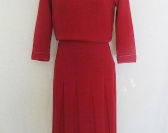 Mad Men Knit Dress 1950's Hand Knit Red Dress Wool Dress Small