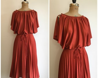 1970s Pumpkin Pleated Disco Dress 70s