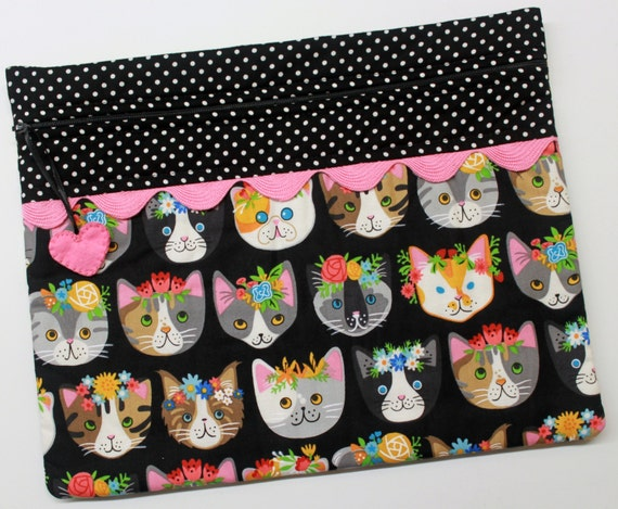 Flower Cats Cross Stitch Embroidery Project Bag