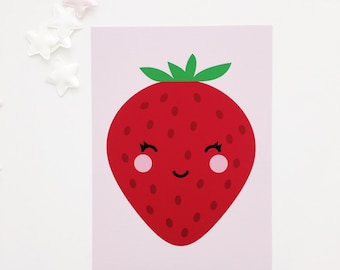 Nursery Wall Art, Strawberry Nursery Art, Pink Nursery Art, Girl's Room Art Print, Kawaii Strawberry, Baby Girl Nursery Art, Nursery Prints