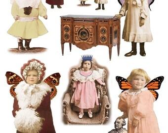 Whimsical Winged Children Digital Collage Sheet - Instant Download - Vintage Altered Images - Digital Download - Printable