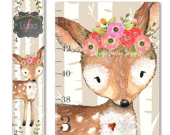 Woodland Growth Chart, Canvas Growth Chart, Deer Growth Chart, Floral Growth Chart, Woodland Decor, Height Chart, Chalkboard Scroll