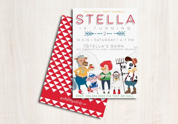 """Hipster Farm Party Animals Invitation - Hipster Barn Yard Party  """"The Stella"""""""
