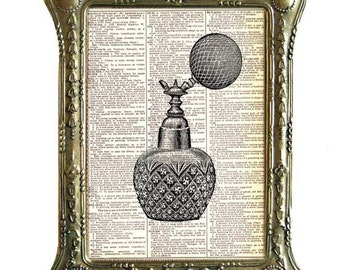 VICTORIAN ATOMIZER art print Bathroom Vanity Toiletries Perfume Bottle upcycled vintage dictionary book page black white wall decor 8x10,5x7