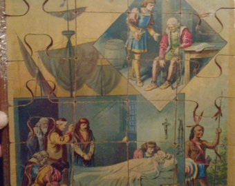 Antique Lithographed Christopher Columbus Puzzle